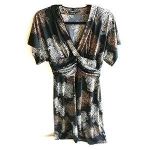 BCBG Empire Waist Short Sleeved Print Black Dress